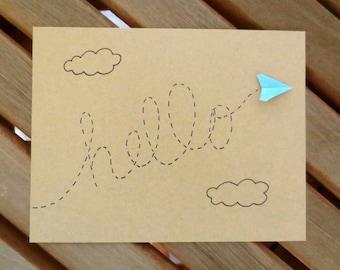hello card, paper airplane card, cute card, any occasion card, friend card, blank card, thinking of you card, plane card, hi card