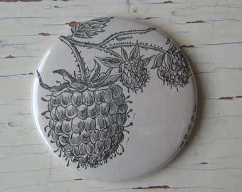 Raspberry Antique Encyclopedia Illustration Pocket Mirror