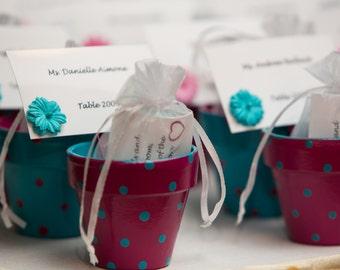 Small Painted Pots - Succulent Planters - Garden Wedding Favors - Outdoor Wedding Decor