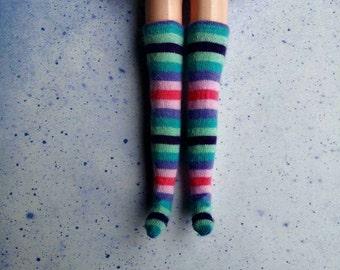 Pastel Colorful Stripe Over the Knee Blythe Socks