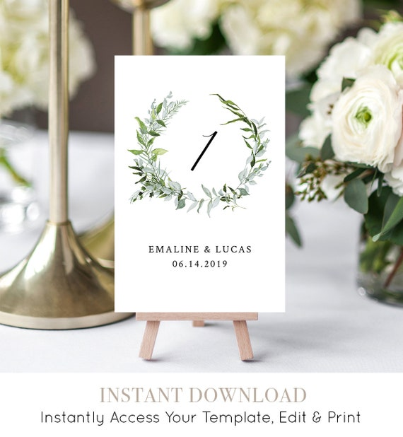 Table Number Card Template, Printable Wedding Table Cards, INSTANT DOWNLOAD, Editable, Greenery Wreath, Boho Wedding, Flat & Tent #016-110TC