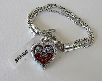 Silver Plated Enamel Brighton Heart Charm Bracelet with Toggle Closure,Silver Charm Bracelets,Three-Strand Silver Charm Bracelet