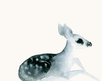 Watercolor Deer Fawn Artwork Watercolor Animal Print from Original Painting