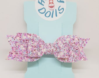 Pink Popping Candy Glitter Double Loop Hair Bow