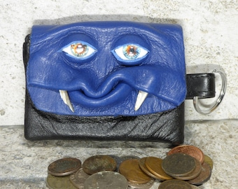 Zippered Coin Purse Blue Black Leather Change Purse Monster Face Pouch Key Ring Harry Potter Labyrinth 33