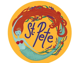 "St. Pete Mermaid 4"" Bumper Sticker * St. Pete Florida * St. Petersburg Florida * Mermaid Sticker *"