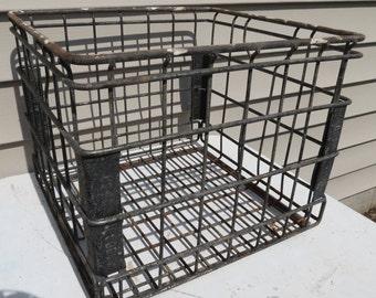 Vintage Metal Wire Milk Crate / Industrial Storage Box