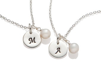 Bridesmaid Gift Pearl Necklace , Initial Necklace , Wedding Jewelry, 925 Sterling Silver