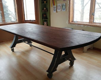 Modern Industrial Ten Foot Dining Table, Kitchen Table, Conference Table with a Metal Base on Metal Casters and a Dark Oak Table Top