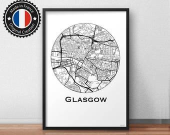 Poster Glasgow Scotland Minimalist Map - City Map, Street Map