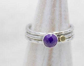 Amethyst Stacking Ring Set Hammered Band Gold Detail