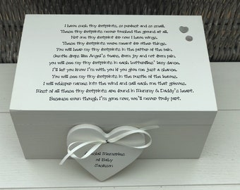 Shabby chic personalised LARGE Memory Box ~ In Memory of BABY / Child Any Name ~ Miscarriage ~ Loss of Baby~ Still Born ~ Bereavement Grief