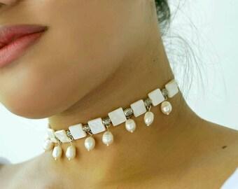 White Pearl Choker Necklace, Bridal Pearl Choker, MOP Wedding Choker Necklace