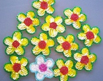 Large Sequin and Bead DAisy Flower Pack/12/Sequin embellishments/Daisy embellishment/Sew On/Scrapbooking