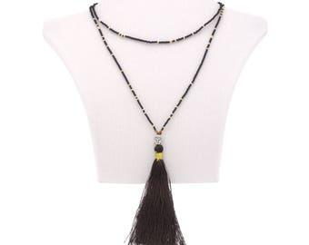Buddha necklace pendant and tassel black