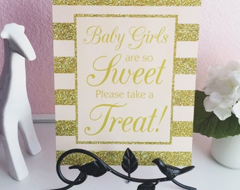 Baby Girls Are So Sweet Please Take A Treat 8x10 Professionally Printed Baby Shower Favor Sign in Pink and Gold Glitter Stripes