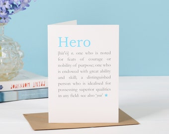Hero Definition Card - Card for Mum- Father's day card