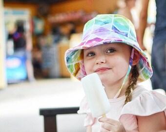 kids summer hat,girls bucket hat,baby sun protection,girls beach hat,rainbow sun hat,girls birthday gift,kids sun hats,wide brim hat