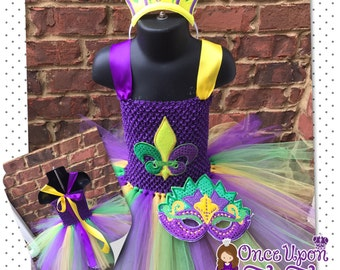 Mardi Gras tutu. Mardi Gras dress. Mardi Gras costume. Mardi Gras mask. Mardi Gras tiara. Mardi gras birthday. Green.purple. Yellow.