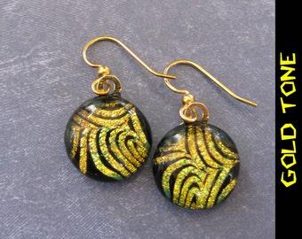 Dangle Earrings, Dichroic Gold, Fused Glass Jewelry, Golden Orange Jewelry - Fingerprint - 2247 -4