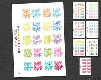Day Off Stickers - Repositionable Matte Vinyl  - Suits All Planners