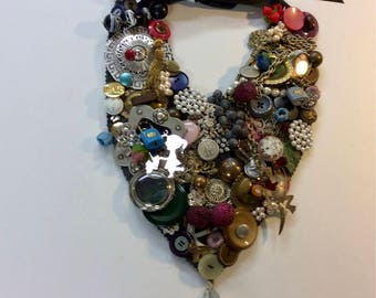 Handmade Garbage Bib Necklace OOAK