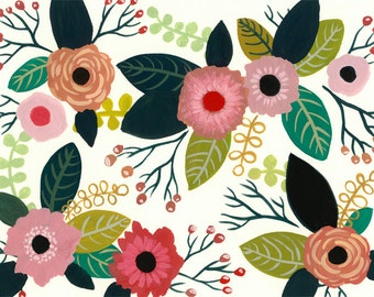 Cute Flowers Art Print - gouache painting reproduction