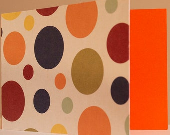 Greeting Card Blank, Multi-Color Dots, Circles, Orange