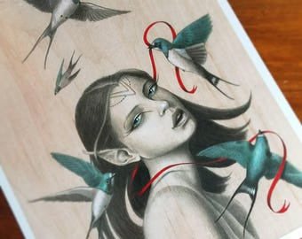 "Art print of elf girl with sparrows holding a red ribbon - ""Caught"" - by Artist Carolina Lebar"