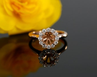 Diamond Halo Engagement Ring Mounting in 14k Rose Gold for 6-6.5mm Round Center Stone ( also avail. in yellow gold, white gold and platinum)