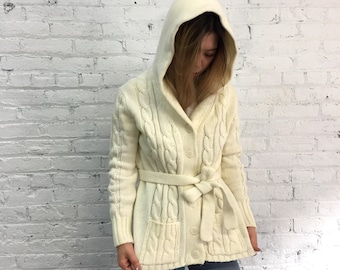 vintage 70s cream hooded cable knit cardigan / 1970s hippy sweater / off white boho cardigan