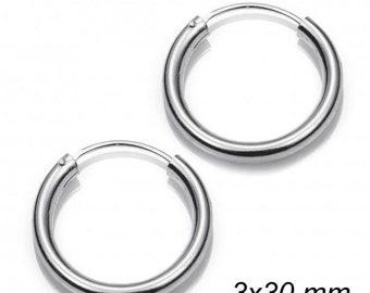 Hoops 3 X 30 Mm sterling Silver 925