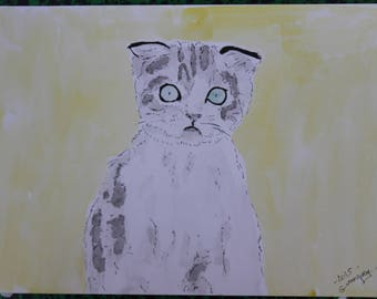 "watercolor and ink ""Surprised"" cat painting drawing"