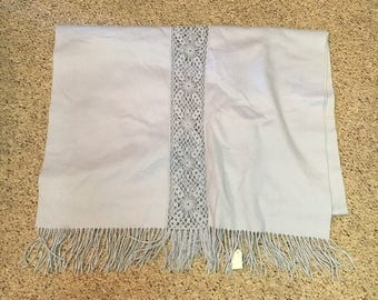 1990's Light Blue Heavy 100% Cashmere Shawl, Made for Nordstrom's