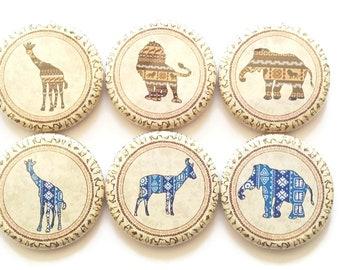Magnets African Animals Elephant Giraffe Lion Magnets African Decor Magnets Decorative Kitchen Magnets Refrigerator Fridge Magnets, 6/Set