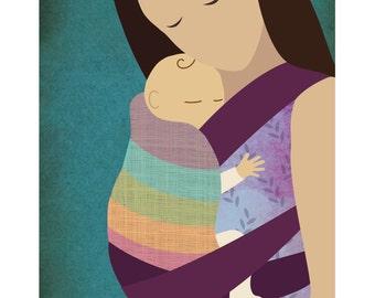 Babywearing Art Print Mei Tai Baby Sling Giclee Art Print Gift