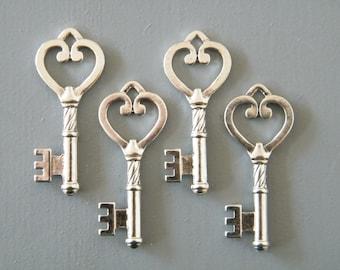 Austen - Skeleton Keys - 10 x Skeleton Key Set Antique Keys Silver Vintage Keys