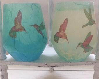 Tealight Holder/glass/'Hummingbird'/designed & made by Coila Ann : Easter, birthday, wedding, thankyou gift