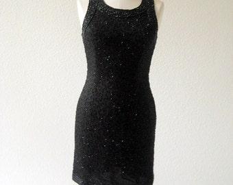 vintage 80's beaded evening  Little Black Dress by Lawrence Kazar.  size petite small