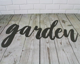 garden script, garden metal sign, metal word art, steel word art, steel script cursive font, DIY garden sign, garden decor, gardener gift