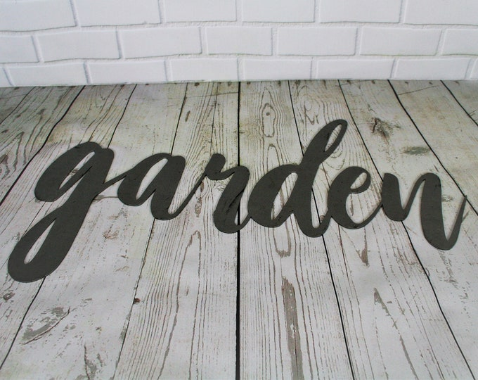 Featured listing image: garden script, garden metal sign, metal word art, steel word art, steel script cursive font, DIY garden sign, garden decor, gardener gift