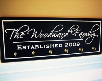 Personalized Family Name Sign Plaque with Hooks for Hanging Keys.