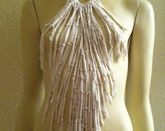 Up cycled,  Fringe, necklace, scarf, neckwear, accessory, white