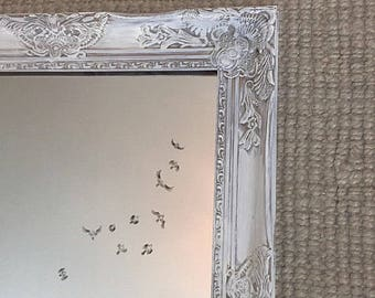 Gray and White Distressed Mirror