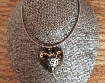 Big bronze puffy heart pendant necklace, puffy heart, pendant, necklace, jewelry, handmade, Made in Canada, Laska Boutique