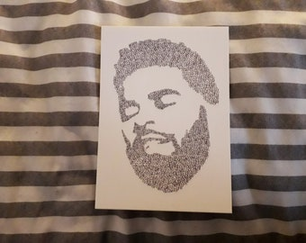 nathan zed word drawing a6 print