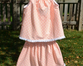 5T Girl's Spring Outfit - Peach Cottage Chic