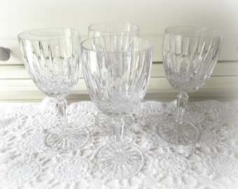 Crystal Water Goblets, Vintage Mikasa Dublin Pattern, Set of 4 Wedding Glasses, Bar Cart Decor