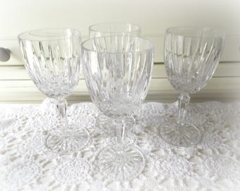 Mikasa Crystal Water Goblets, Set of Four, Dublin Pattern, Wedding Glasses, Vintage Glassware, Bar Cart Decor