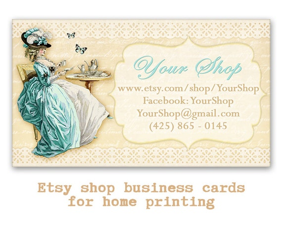 Vintage french business cards etsy shop cards printable reheart Image collections